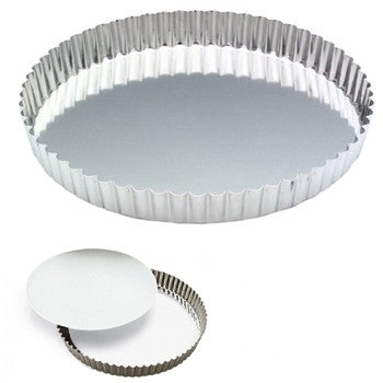 "Gobel 9"" Round Fluted Tinned Steel Removable Bottom Quiche"
