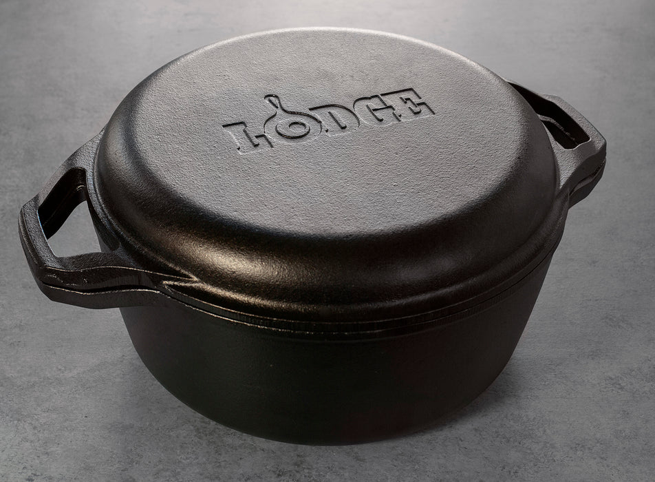 Lodge Chef Collection 6 Quart Cast Iron Double Dutch Oven