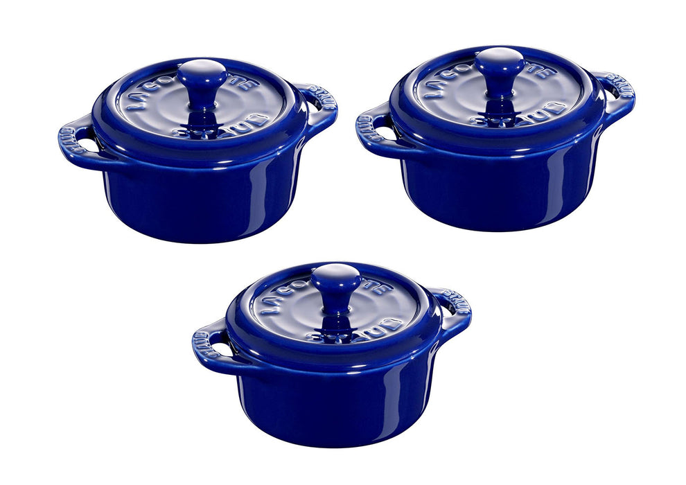 Staub Ceramic 3 Pc Mini Round Cocotte Set  in Dark Blue