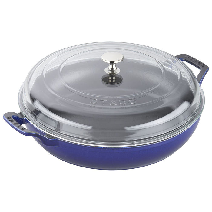 Staub Enameled Cast Iron 3.5 Qt Braiser with Glass Lid in Dark Blue
