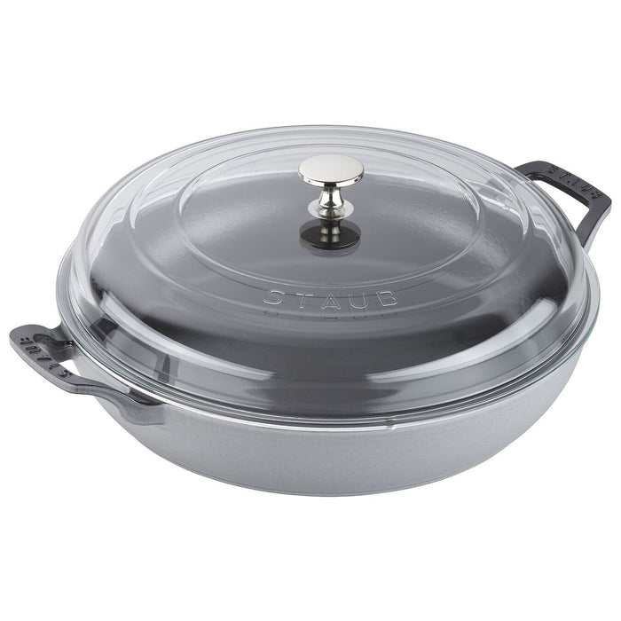 Staub Enameled Cast Iron 3.5 Qt Braiser with Glass Lid in Graphite Grey