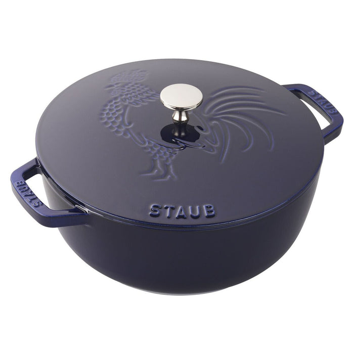 Staub Enameled Cast Iron 3.75 Qt Essential French Oven Rooster Lid in Dark Blue
