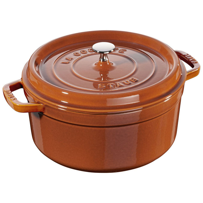 Staub Enameled Cast Iron 5.5 Quart Round Cocotte in Burnt Orange