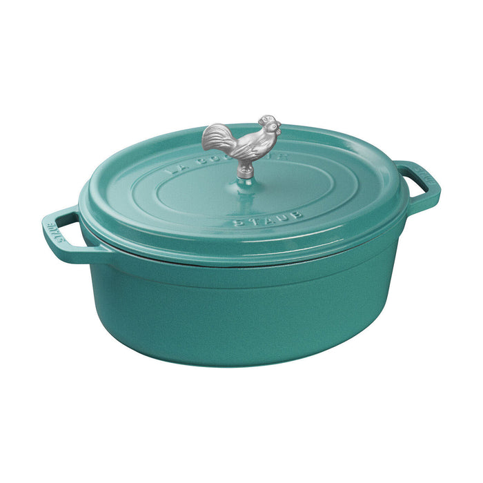 Staub Enameled Cast Iron 5.75 Quart Oval Coq au Vin Cocotte in Turquoise