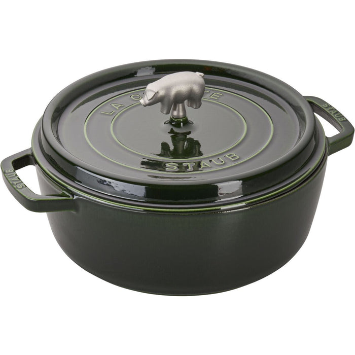 Staub Enameled Cast Iron 6 Quart Cochon Shallow Wide Round Cocotte in Basil