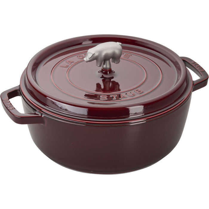 Staub Enameled Cast Iron 6 Quart Cochon Shallow Wide Round Cocotte in Grenadine