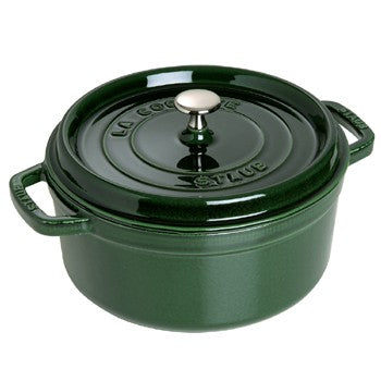 Staub Enameled Cast Iron 7 Quart Round Cocotte in Basil