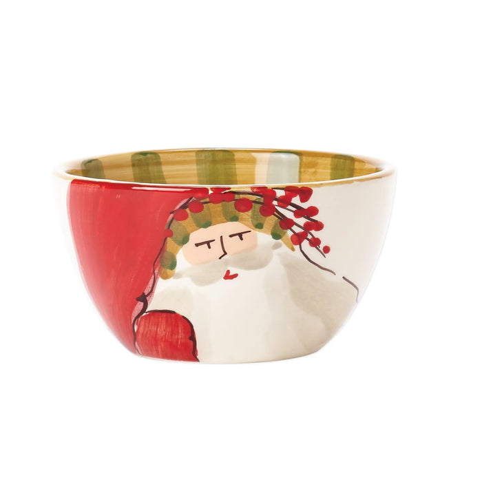 Vietri Old St. Nick Cereal Bowl - Striped Hat