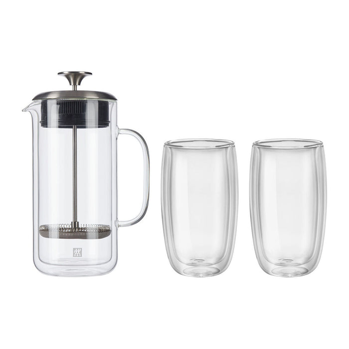 ZWILLING Sorrento Plus 3 Pc Double Wall French Press and Latte Glass Set