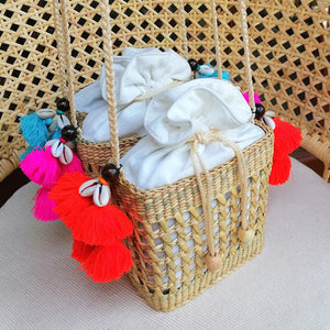 Agafya Tassel Basket Orange
