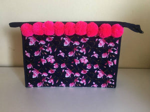 Pink Orchid Toiletry Make Up Bags