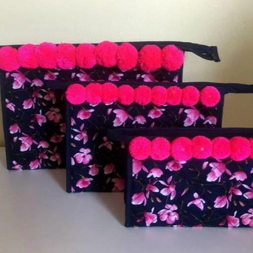 Pink Orchid Cosmetic Bags