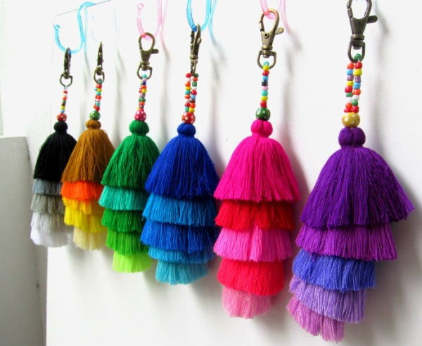 Tassel Stack Keychain Layered Tassel Key Chain Jazzy Tassel Zipper Pull Tassel Purse Charm Wholesale Tassels Gift for Her Gift for Women