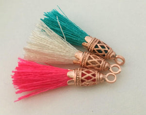 Rose Gold Filigree Tassels