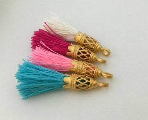 Gold Filigree Small Silk Tassels