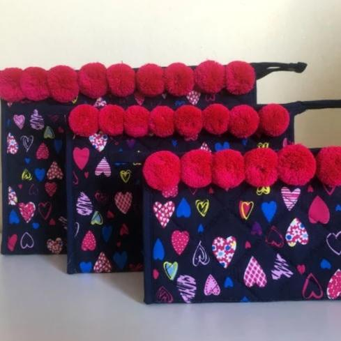 Hearts Cosmetic Make Up Bags