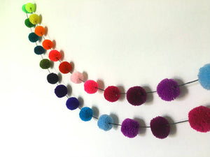 Rainbow Yarn Pom Pom Garland