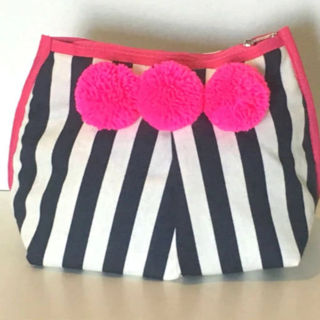 Diani Clutch Pink Navy Stripe