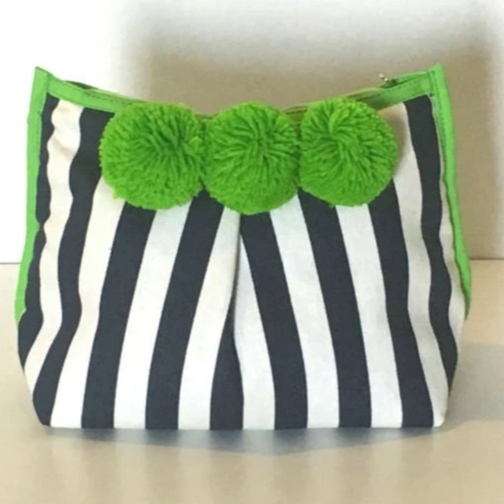 Diani Clutch Lime Green Navy Stripe