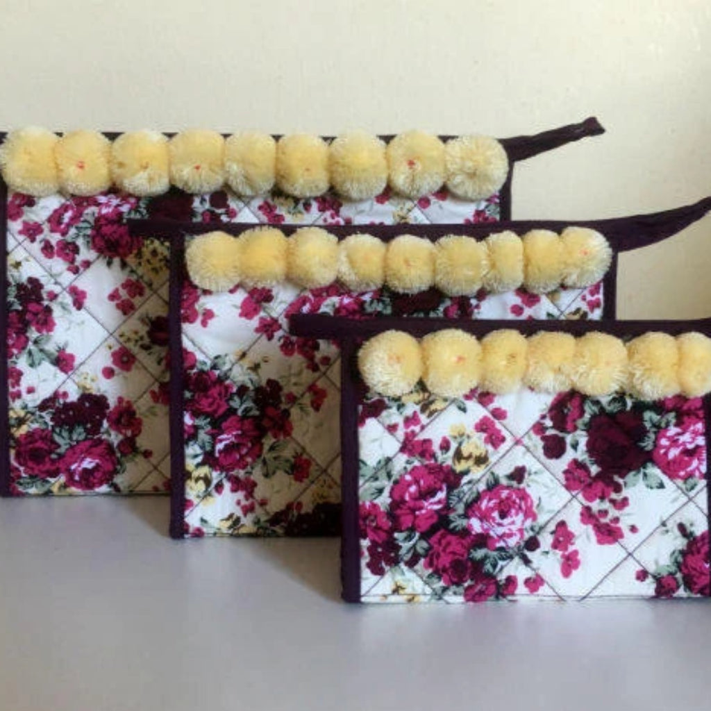 Floral Cream Pom Pom Cosmetic Travel Bag