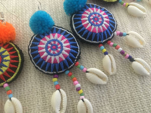 Ada Pompom Shell Earrings