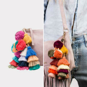 Tassel Pompoms for handbags, Tassel Pompom Keychain, Rucksack tassel charm,Wholesale Beach bag Pom decor, Tote Bag Tassel Pom Pom Decoration