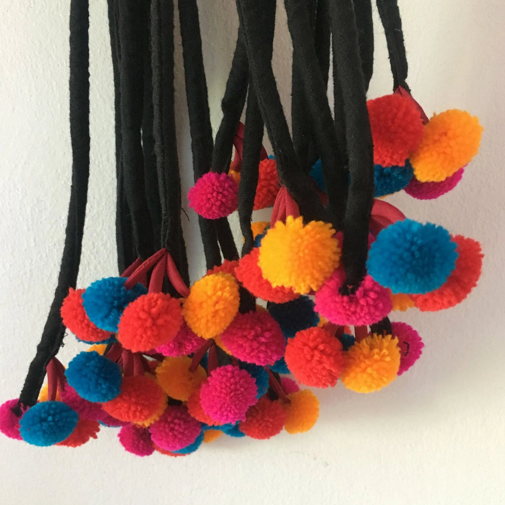 Multi Colored Pompom Strap
