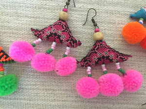 Triangle Pom Earrings
