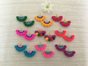 20 Pair Lizzie Pompom Fan Earrings