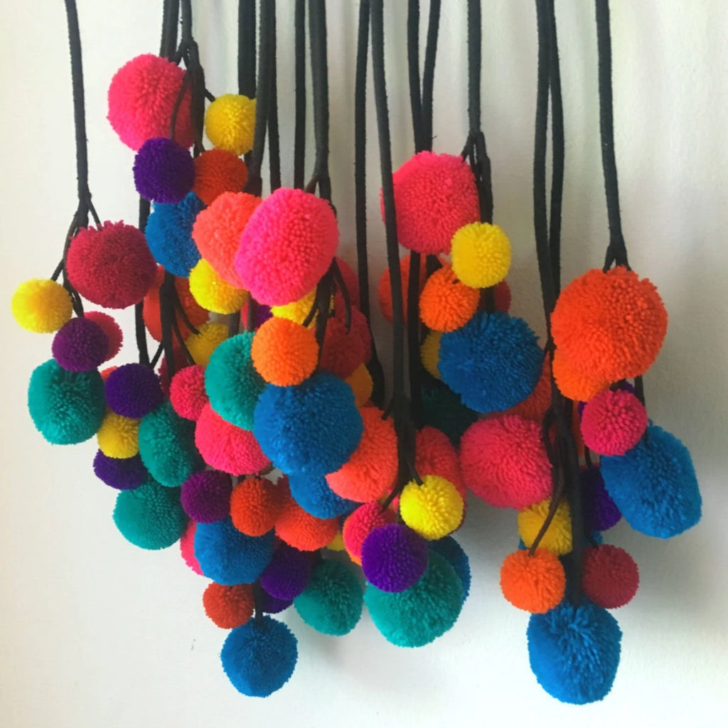 Wool Pompom Strap / Pom Pom Decoration / Pompom Curtain tie back / Pom Pom Supplies Pompom Decoration Gypsy fashion  Decorating Supplies