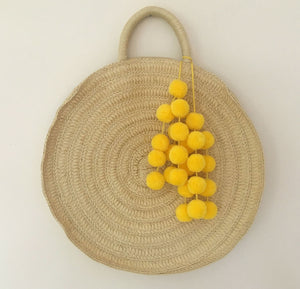 Yellow Pompoms for handbags, Straw bag tassel charm, Beach bag Pom decor, Tote Bag Tassel Pom Pom Decoration, Summer, Holidays, Beach Decor