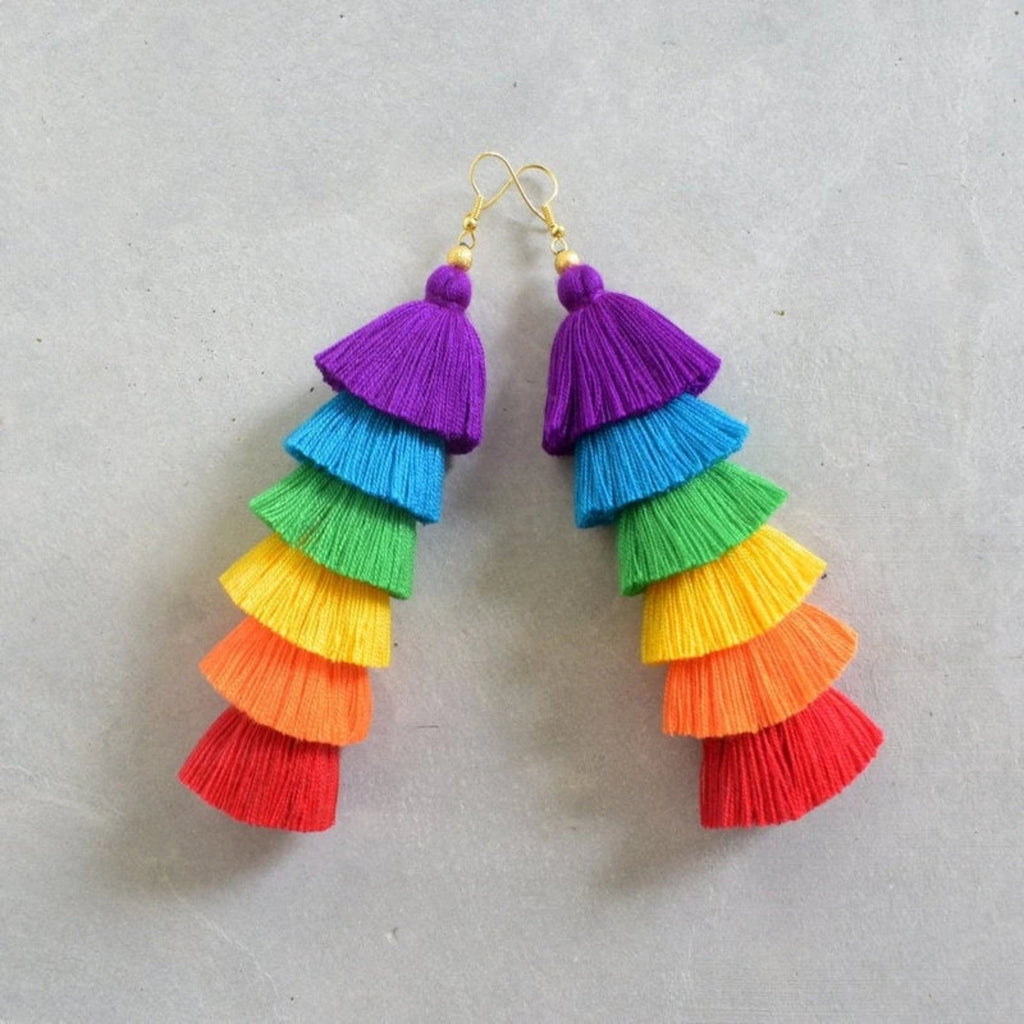Hana Rainbow Tassel Earrings