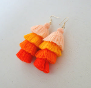 Burnt Orange Fringe Earrings
