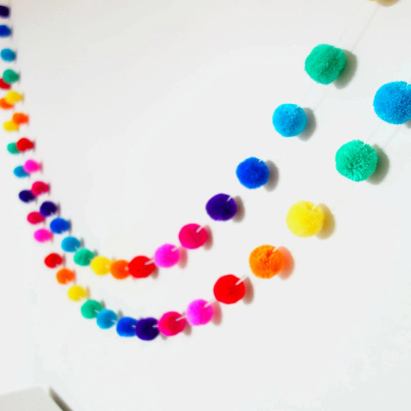 Bright Rainbow Pompom Garland