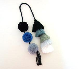 Black Grey Ombre Tassel Swags