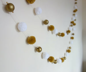 White & Gold Pom Pom Garland