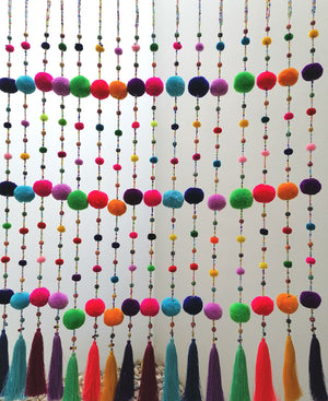 Pompom Beaded Mobile Garland