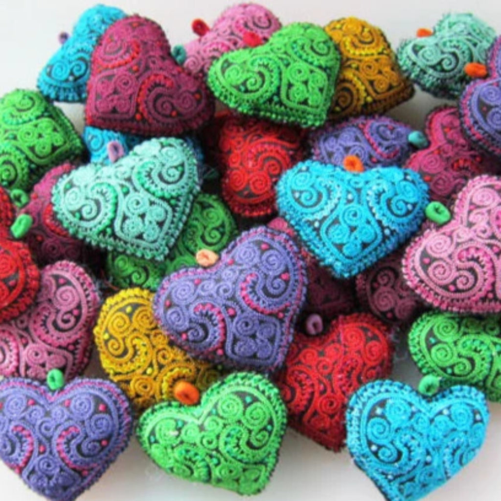 Embroidered Stuffed Hearts
