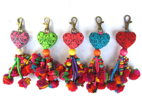 Valentines Day Gift, Heart Keychain, Purse Charm, Handcrafted Keychain, Pompom Keychain, Tassel Keychain, Gift for Her, Assorted Colors