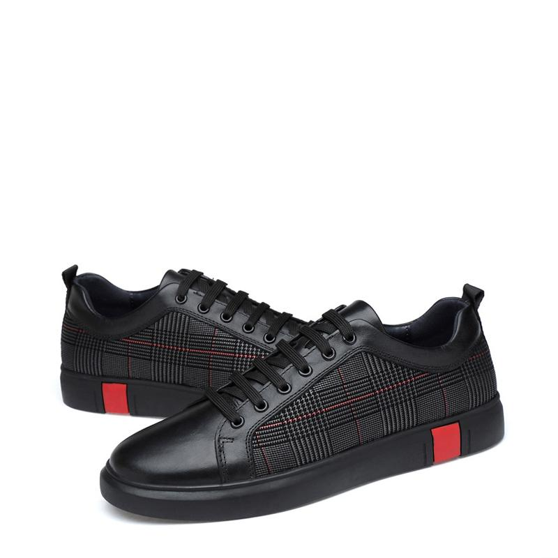 Black Cowhide Lace Up Men's Causal Shoes