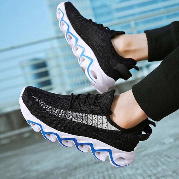 Breathable Knitted Fabric Lace Up Men's Sneakers
