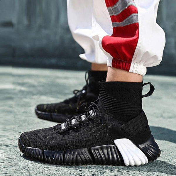 Mesh Lace Up Socks Men's Sneakers