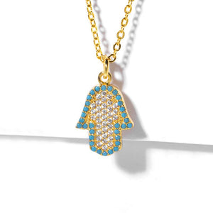 18K Gold Plating Turquoise Pav'e Hamsa Necklace