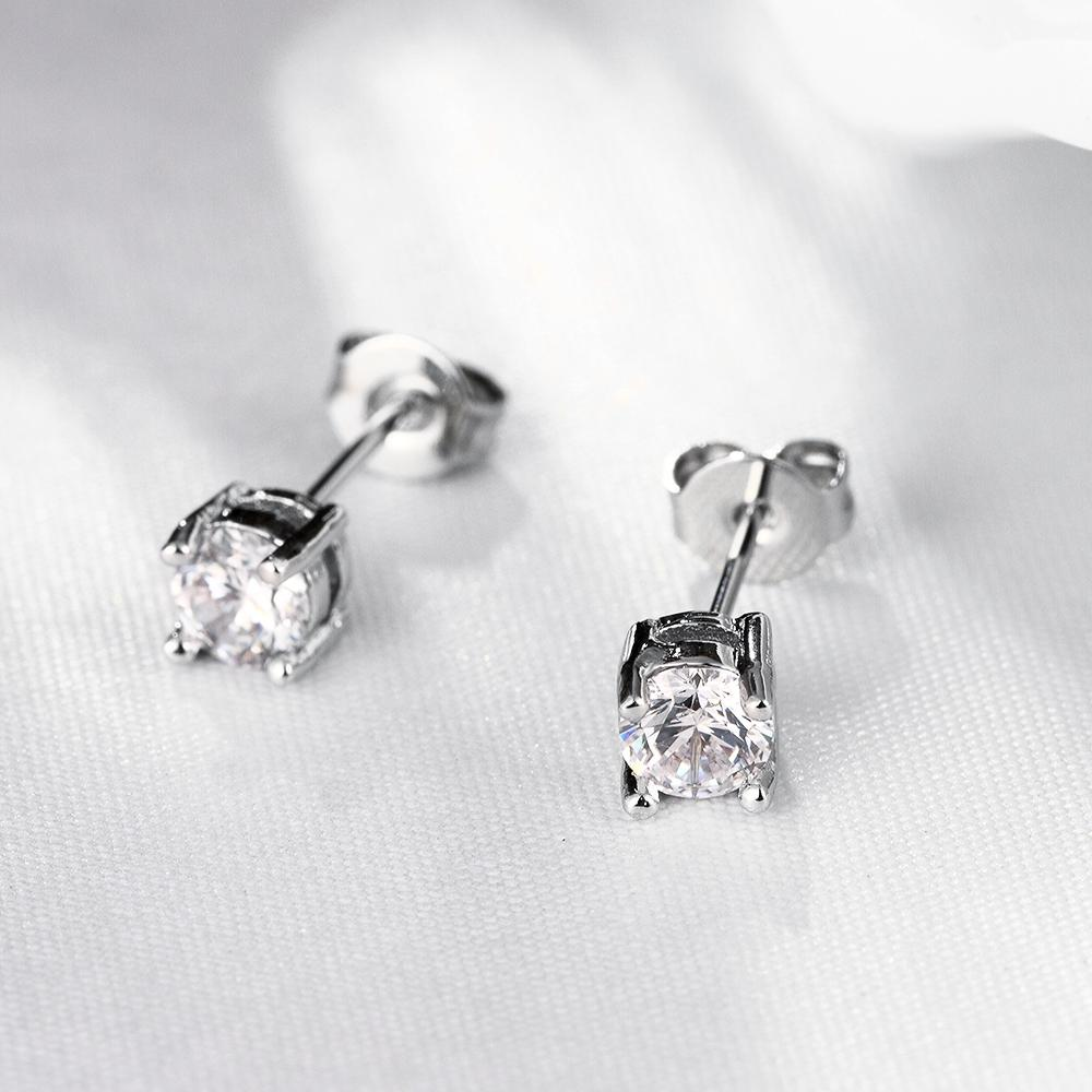 Solitaire Princess Cut Swarovski Earrings