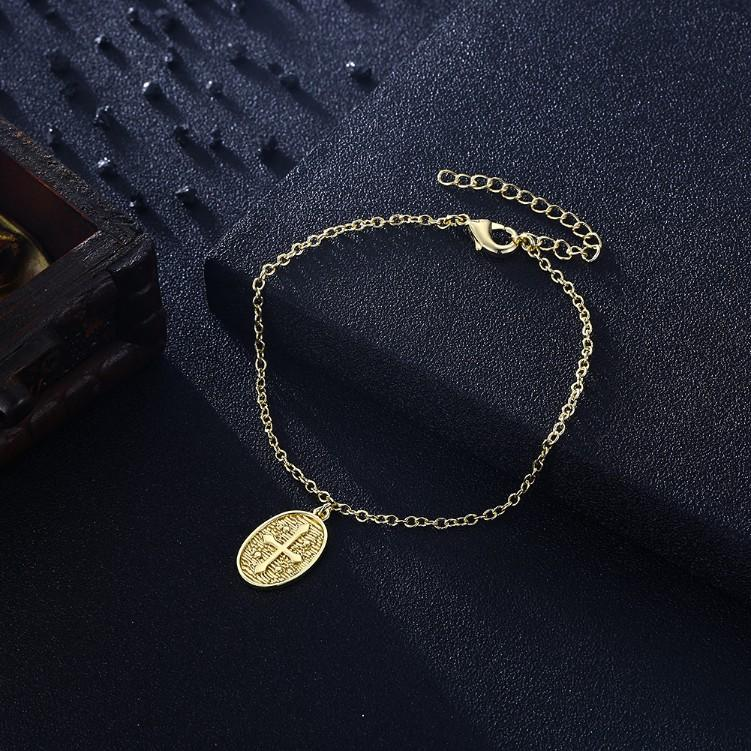 Cross Coin Bracelet in 18K Gold Plated