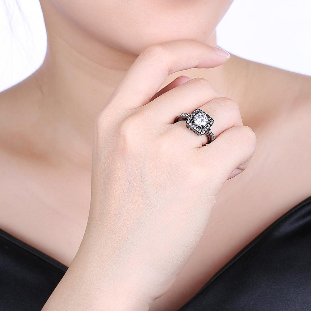 Swarovski Pav'e Halo Shaped Ring in Black Gun