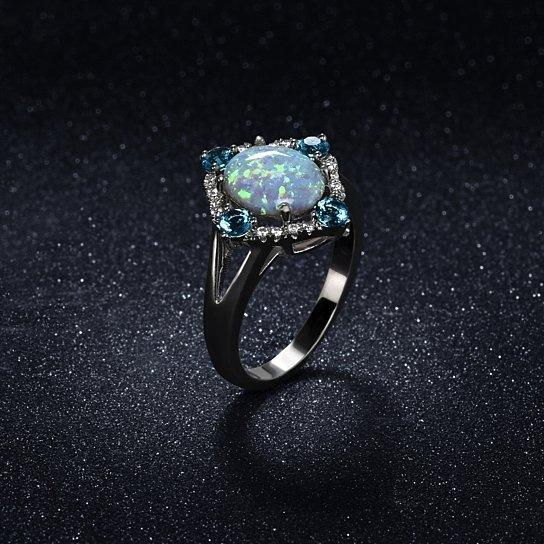 Aquamarine Opal Ring Set in 18K White Gold