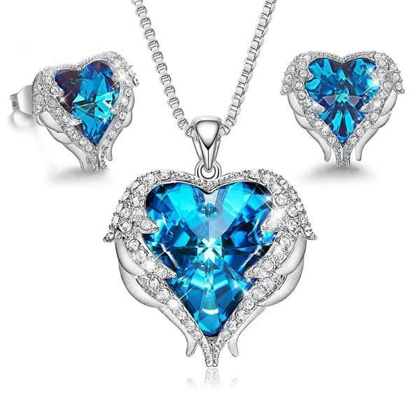 Wings of an Angel Heart Blue Topaz Necklace and
