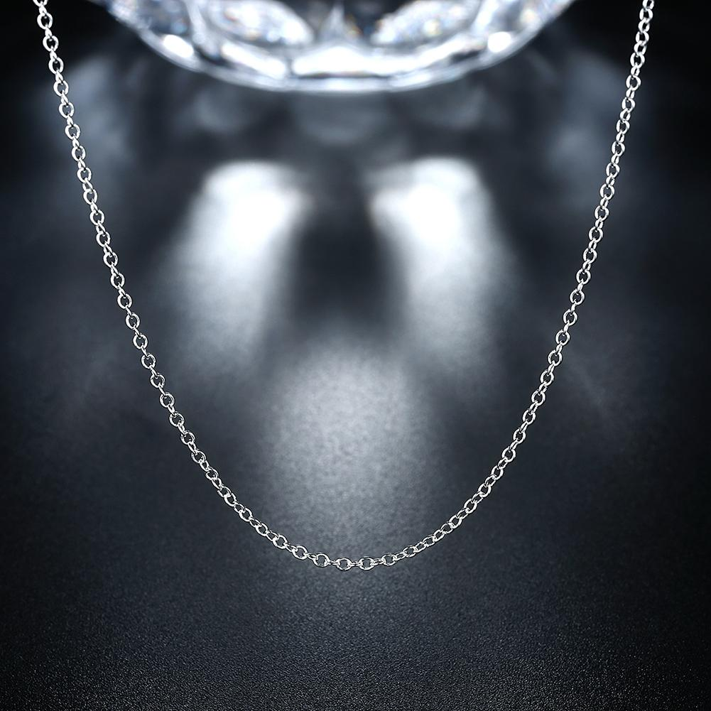 18K White Gold Plated  Classic Chain Link Necklace