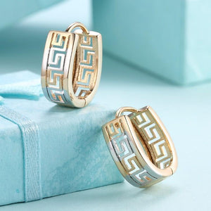 Greek Medallion Duo Toned Huggie Hoop Earrings Set